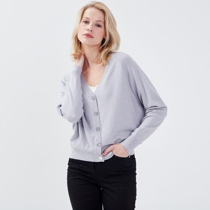 Gilet manches longues boutonné gris clair femme