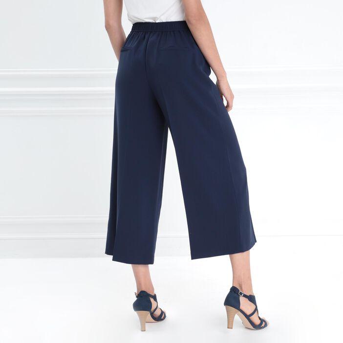 Pantalon à pont taille haute bleu marine femme