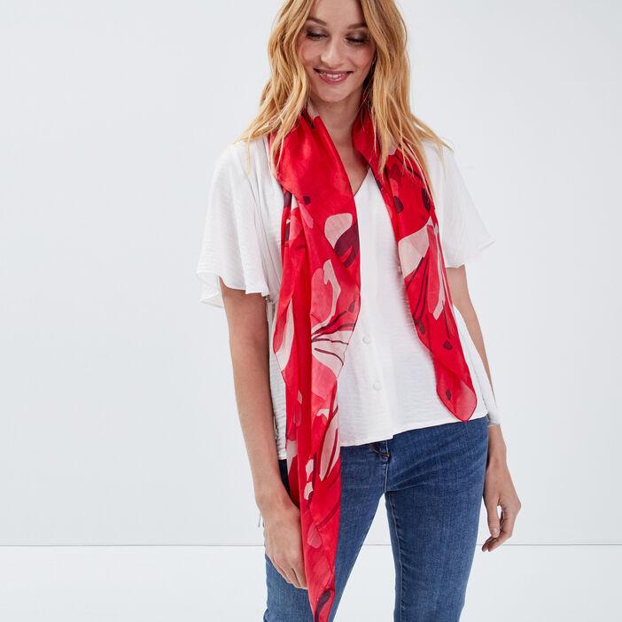 Foulard carré rouge femme