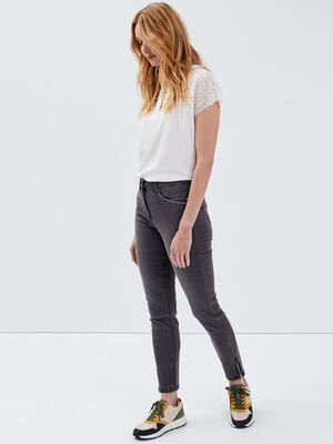 Pantalon ajuste taille haute gris femme