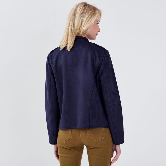 Veste droite effet suédine bleu foncé femme