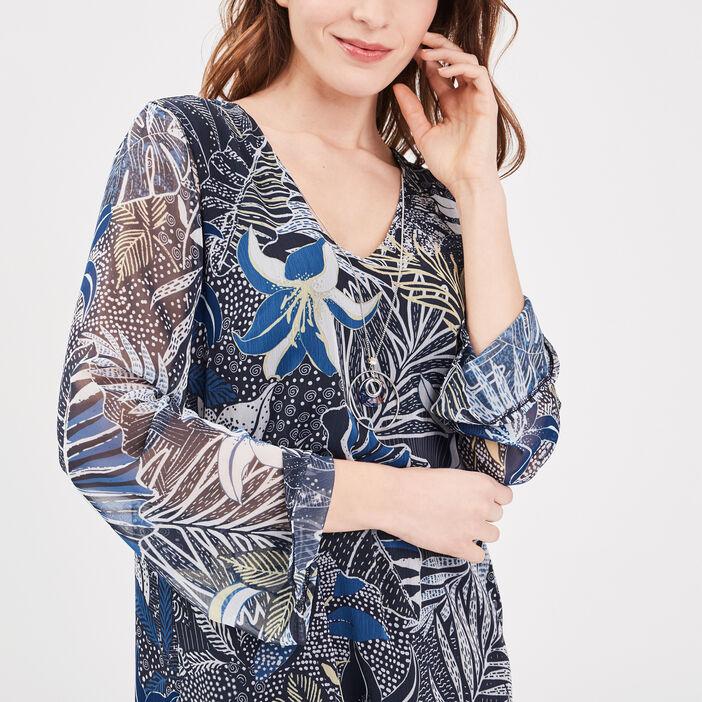 Robe droite manches longues bleu marine femme