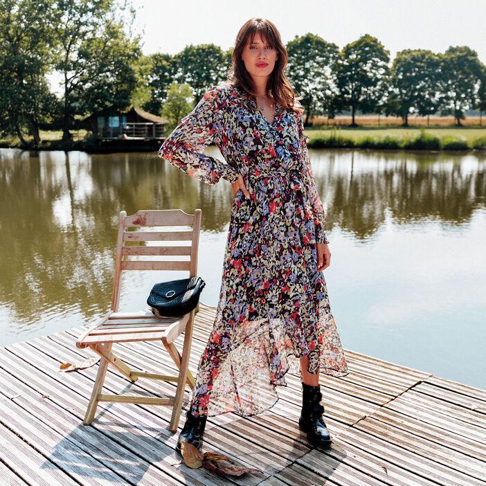 Robe longue portefeuille multicolore femme