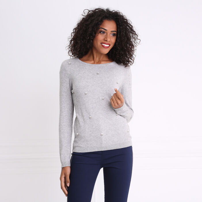 Pull col rond maille chinée bijoux gris clair femme