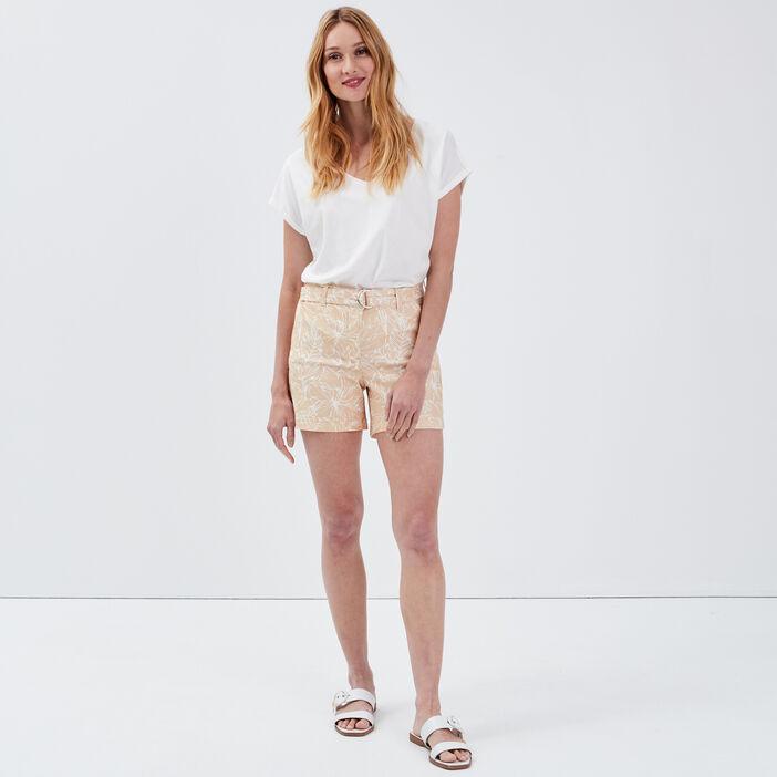 Short droit taille haute sable femme