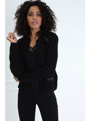 Pull col rond manches longues maille noir femme