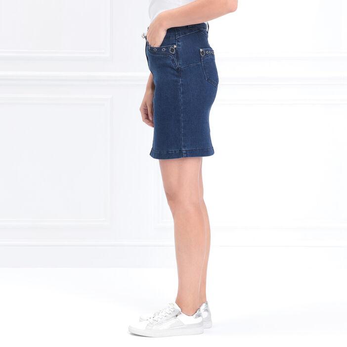 Jupe crayon en jean à broderie denim stone femme