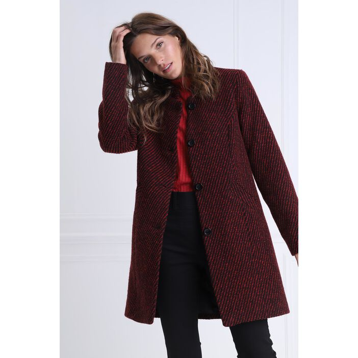 Manteau droit maille tweed rouge femme