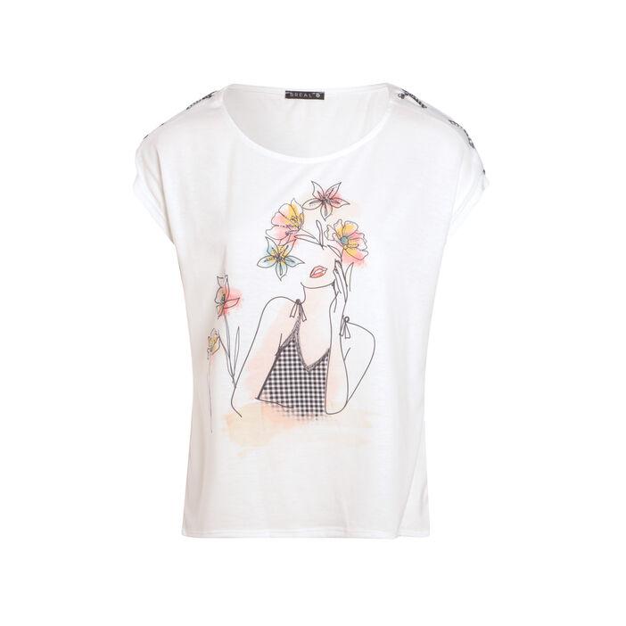 T-shirt manches courtes lacées ecru femme