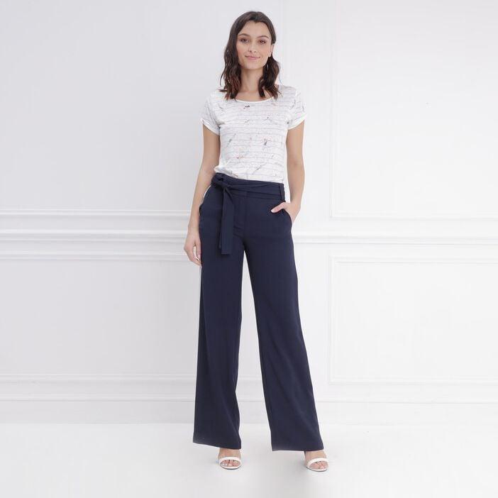 uk store low price sale online retailer Pantalon large taille haute bleu foncé femme | Vib's