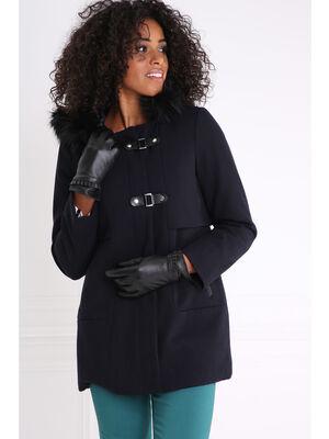 Manteau avec capuche interieur matelasse gris fonce femme