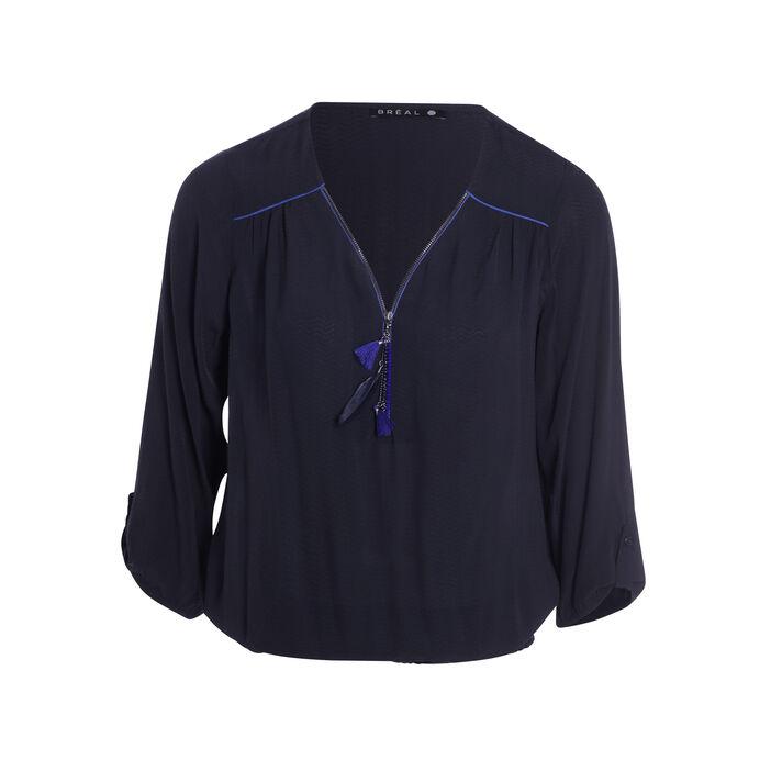 Chemise zippée détails fantaisie gris foncé femme