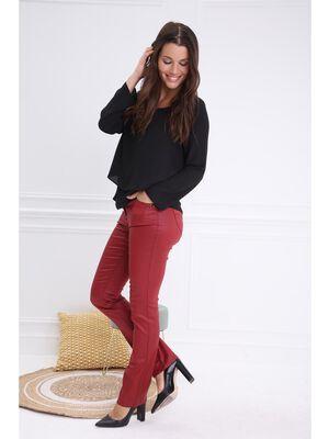 Pantalon droit enduit taille basculee rouge femme