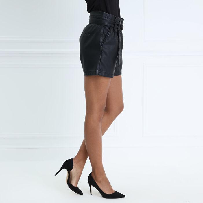 Short taille haute bimatière noir femme