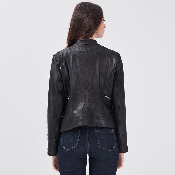Veste coupe cintrée façon cuir noir femme