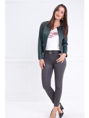 Pantalon taille standard ajuste enduit gris fonce femme