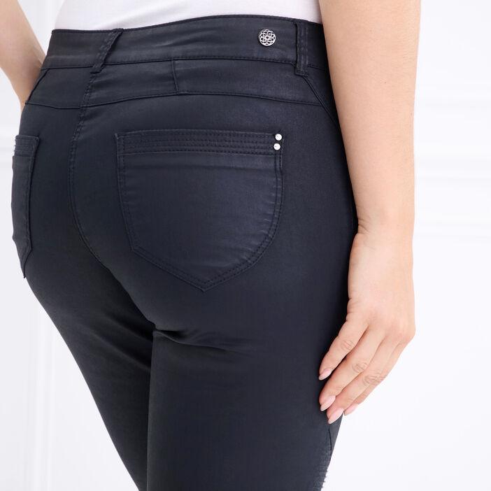 Pantalon taille basculée esprit motard gris foncé femme