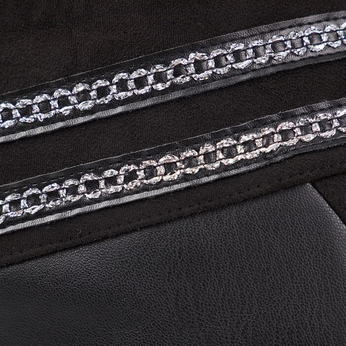 Jupe droite détails bijoux noir femme