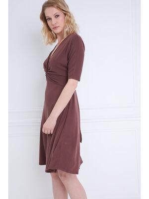 Robe cintree en maille marron fonce femme