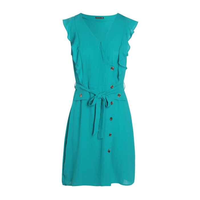 Robe portefeuille boutonnée vert turquoise femme