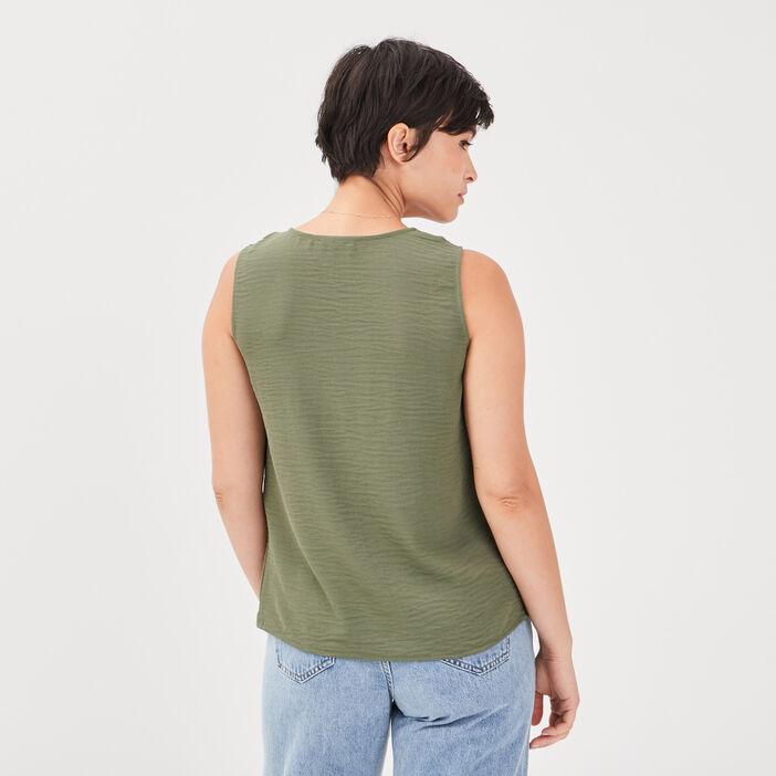 Blouse sans manches vert kaki femme