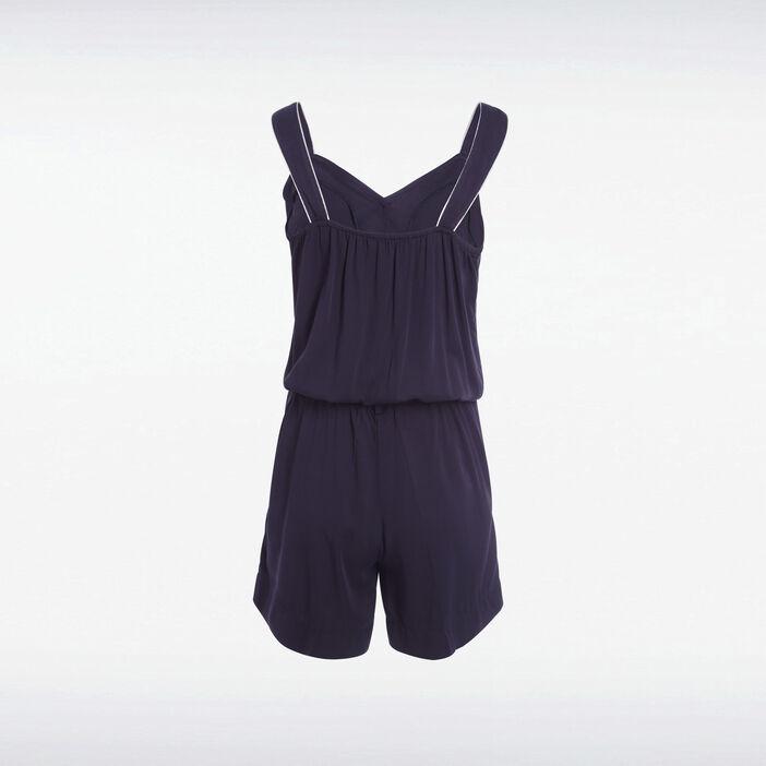 Combishort ample boutonnée bleu marine femme