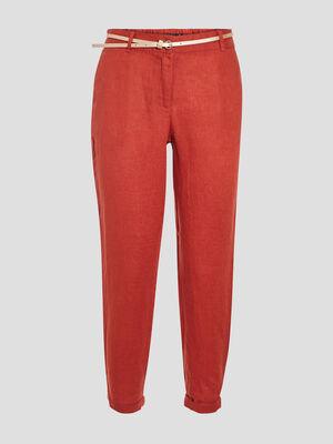 Pantalon chino taille standard orange fonce femme