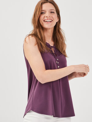 Debardeur bretelles larges violet fonce femme