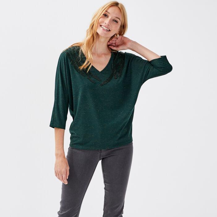 T-shirt manches 3/4 vert foncé femme