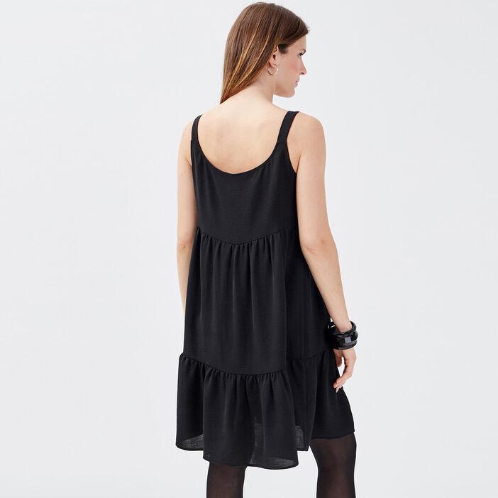 Robe droite avec noeud noir femme