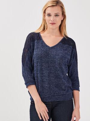 T shirt manches 34 bleu marine femme