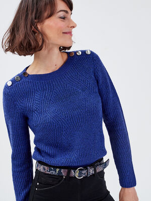 Pull fantaisie a epaules boutonnees bleu violet femme