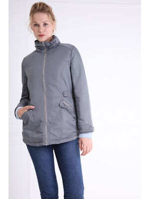 Parka coupe ajustee poches zippees gris fonce femme