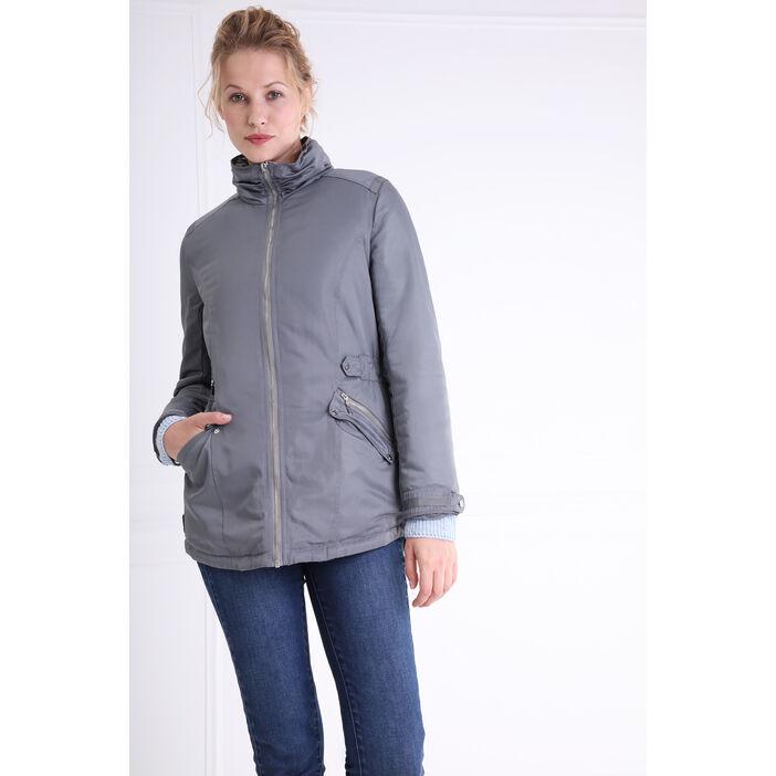 Parka coupe ajustée poches zippées gris foncé femme