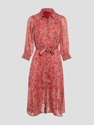 Robe longue evasee ceinturee rouge femme