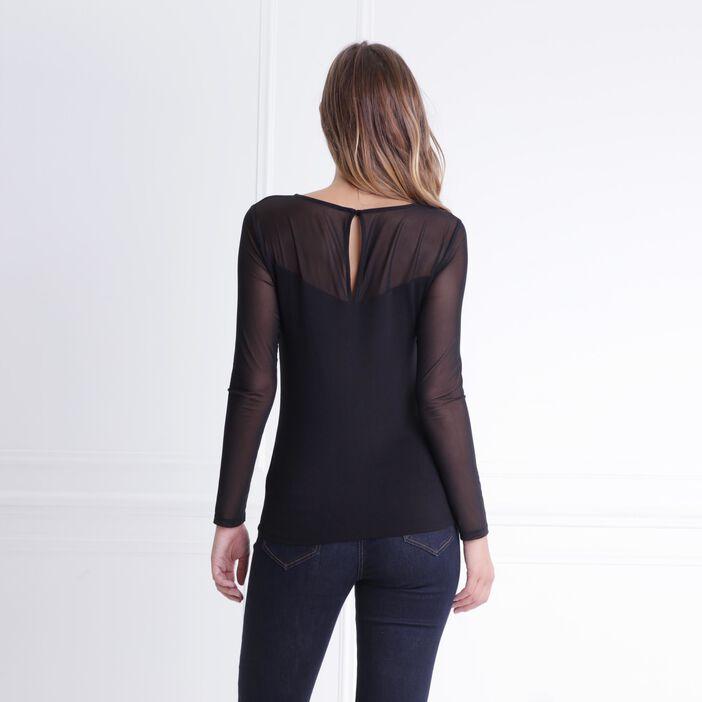T-shirt esprit bustier maille et voile noir femme