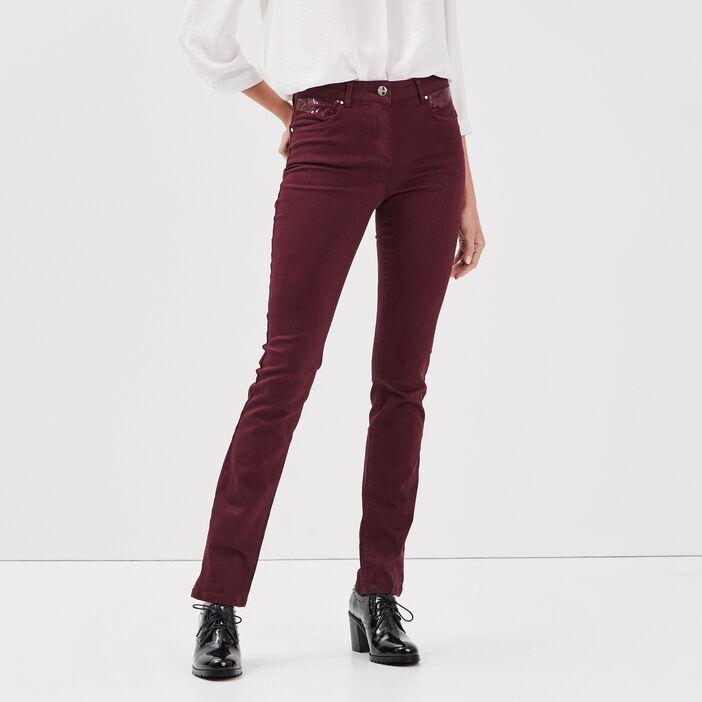Pantalon évasé taille basculée violet foncé femme