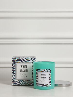 Bougie cylindrique parfumee bleu fonce femme