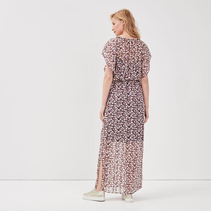 Robe longue évasée prune femme