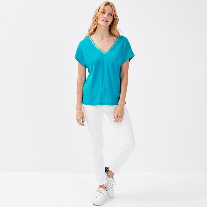 T-shirt manches courtes bleu turquoise femme
