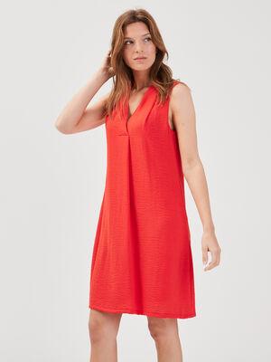 Robe droite col en V rouge femme