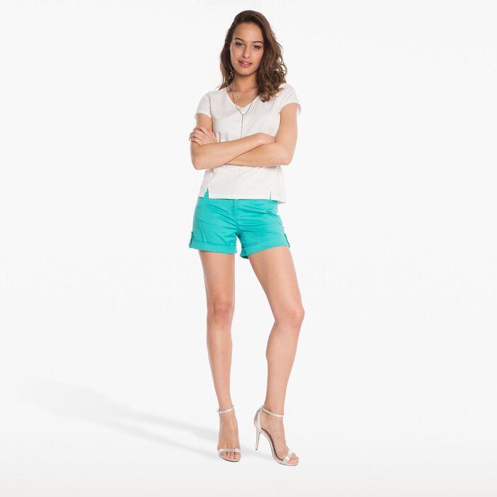 Short uni avec ceinture assortie vert turquoise femme