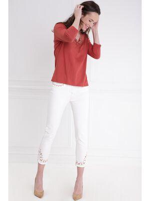 Pantalon 78e taille standard ecru femme