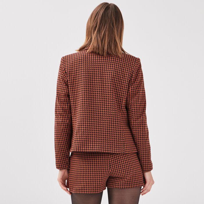Veste droite boutonnée rouge foncé femme