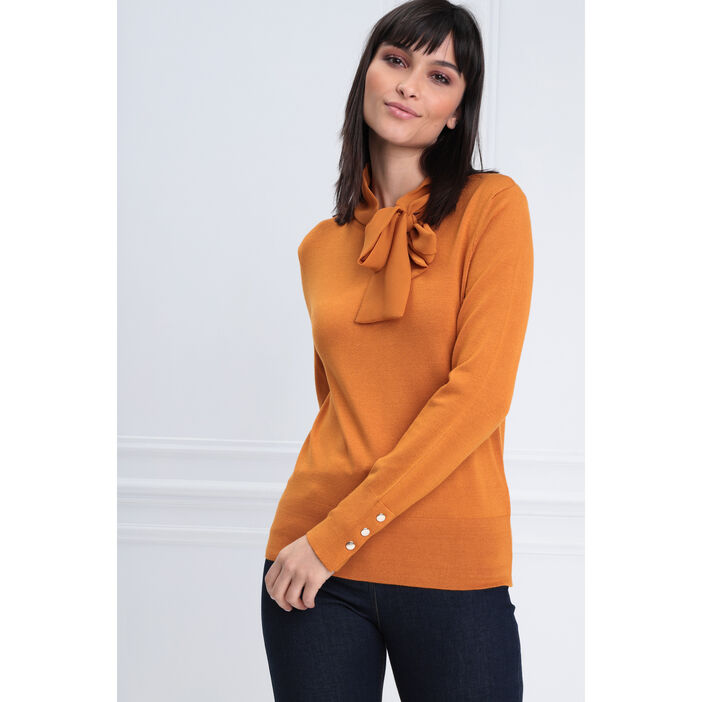 Pull manches longues jaune moutarde femme