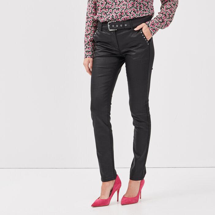 Pantalon ajusté avec clous noir femme