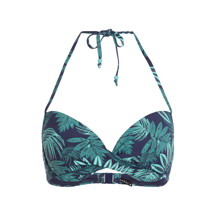 Haut de maillot de bain imprimé palmes bleu foncé femme