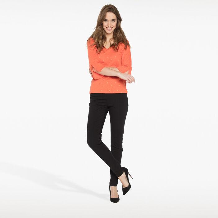 T-shirt manches 3/4 orange femme