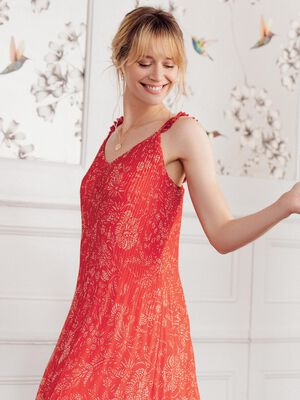 Robe droite plissee rouge femme