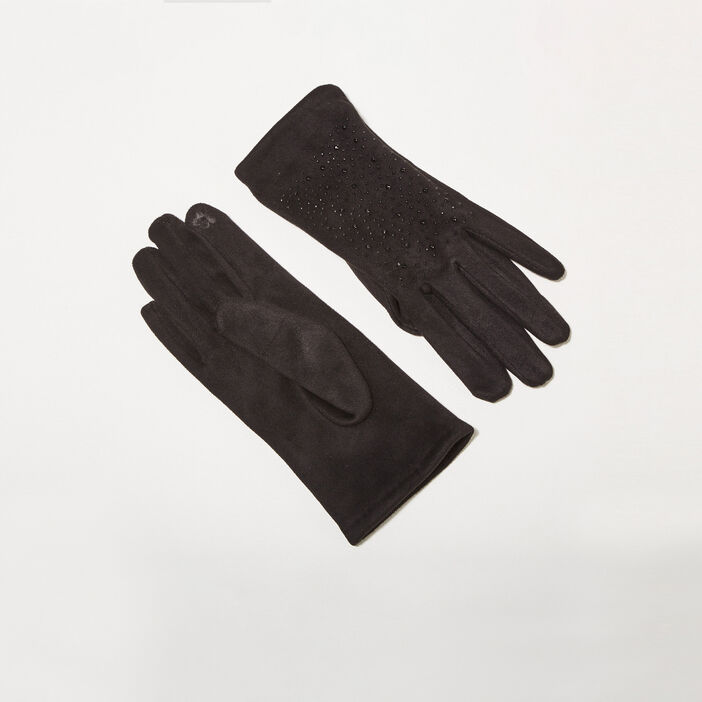 Gants avec strass noir femme